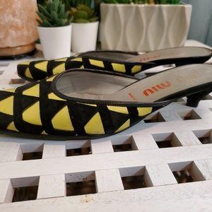 Miu Miu Shoes - Miu Miu Yellow and Black Geometric Kitten Heels